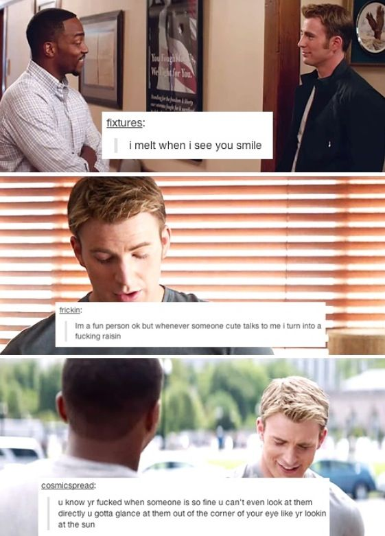 Sam Wilson/the falcon and Steve Rogers/captain America Sam/Steve samsteve Captain America: the Winter Soldier CAtWS tumblr text posts