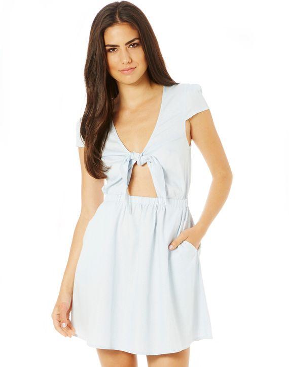 Stripe Tie Front Mini Dress, MILK/PALE CORNFLOWER