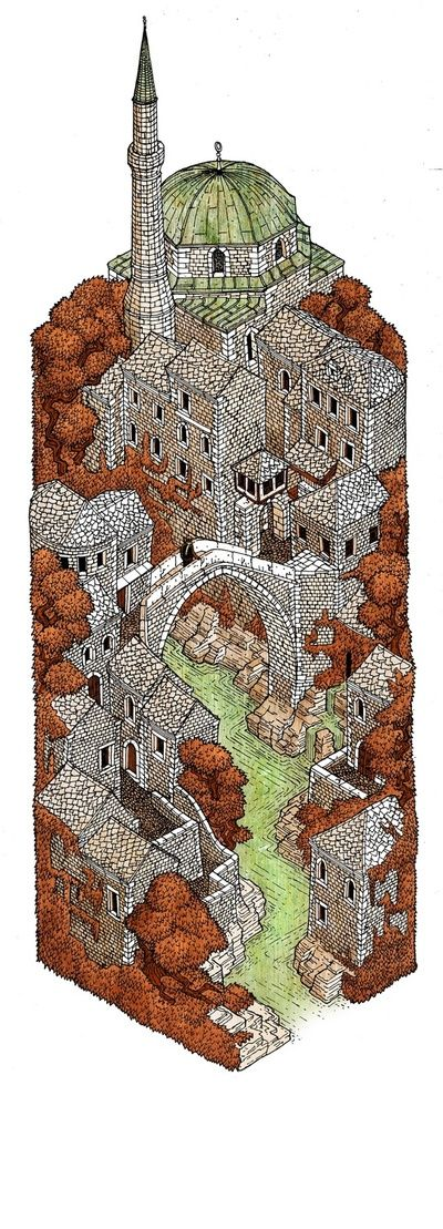 Mostar: Autumn by Evan Wakelin http://www.pinterest.com/chengyuanchieh/illustration-architecture/