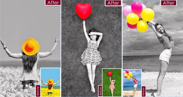 A great iOS and Android app for editing photos and images to show only selected objects in colour on an otherwise monochrome image. Start with a completely greyscale image and add the colours back by moving your finger over the areas you want. iOS: http://itunes.apple.com/gb/app/color-pop-effects-black-white/id940508574?mt=8&uo=4&at=11lt9Z Android: https://play.google.com/store/apps/details?id=com.tasnim.colorsplash&hl=en_GB