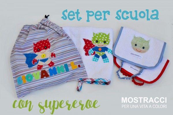 Set per scuola materna con supereroe