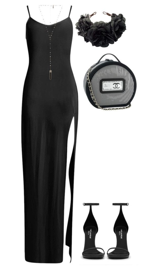 Untitled #4032 by marcellamic on Polyvore featuring polyvore fashion style Boohoo Yves Saint Laurent Natalie B Rock 'N Rose Chanel