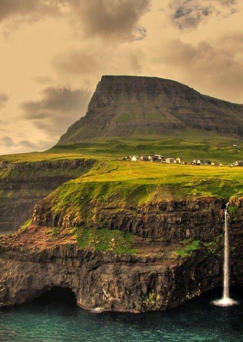 Gasaldalur waterfall, Faroe Islands, North Atlantic, Denmark.