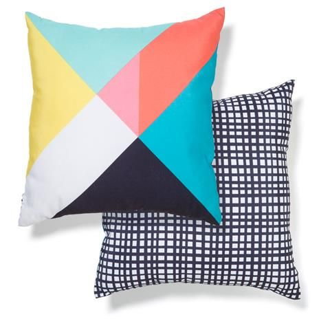 Option for bed 2 (Double) Bold Block Cushion | Kmart. Need 2 at $10 each