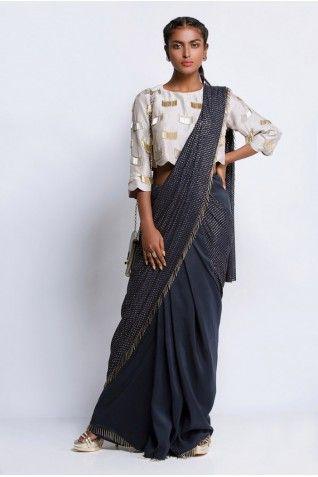 Payal Singhal Sarees Collection : GREY AND NAVY SAREE SET