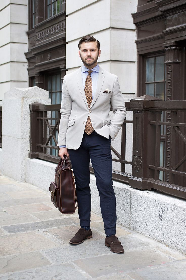 Wearing Holland Esquire jacket and trousers, Eton shirt, vintage tie, Hackett pocket square, Dr Martens bag and Oliver Sweeney shoes.
