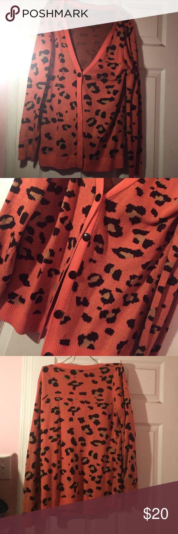 Cheetah cardigan. Cute & cozy cardigan. Pretty warm. Worn but still in good condition. Charlotte Russe Sweaters Cardigans