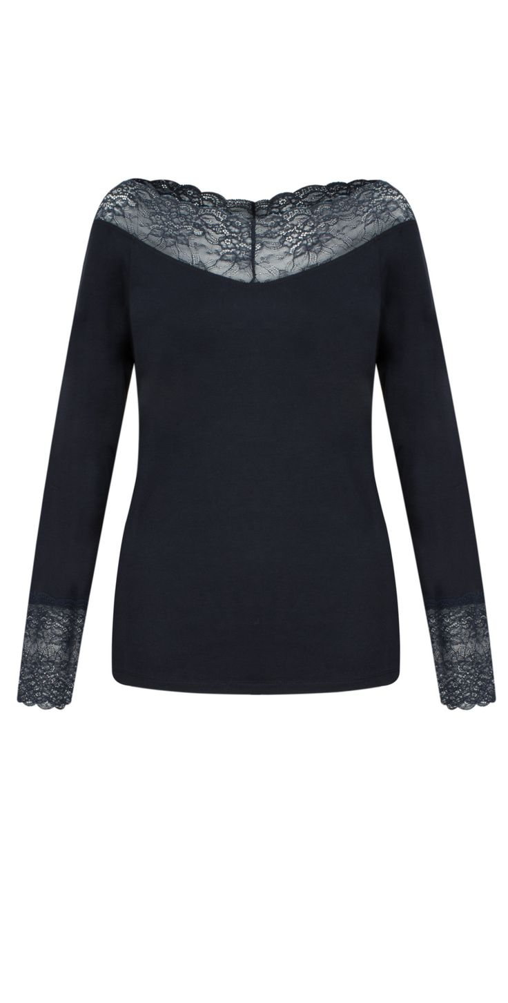 Shop the Lauren Vidal Essential Long Sleeve Lace Top in Nuit online at Gemini Woman. Receive FREE UK delivery when you spend over £95!