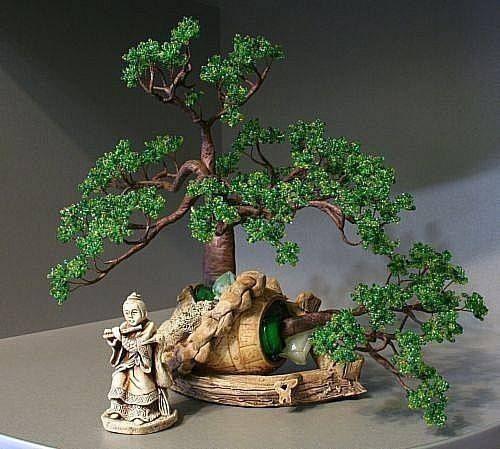 Дерево бонсай из проволоки и бисера