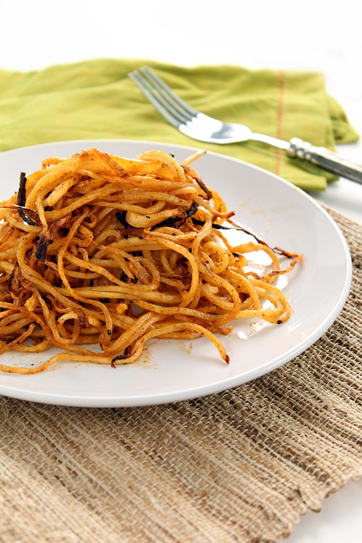 Spicy Spiralized Shoe String Jicama Fries This is absolutely wonderful!!!!!