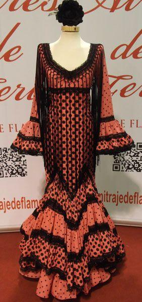 Aires de Feria - Tu traje de Flamenca Modelo Azalea Coral y negro