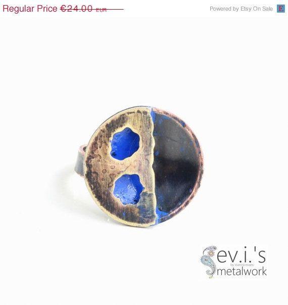 On Sale Round Holes Black Blue Half Sphere Ring by evismetalwork, €20.40