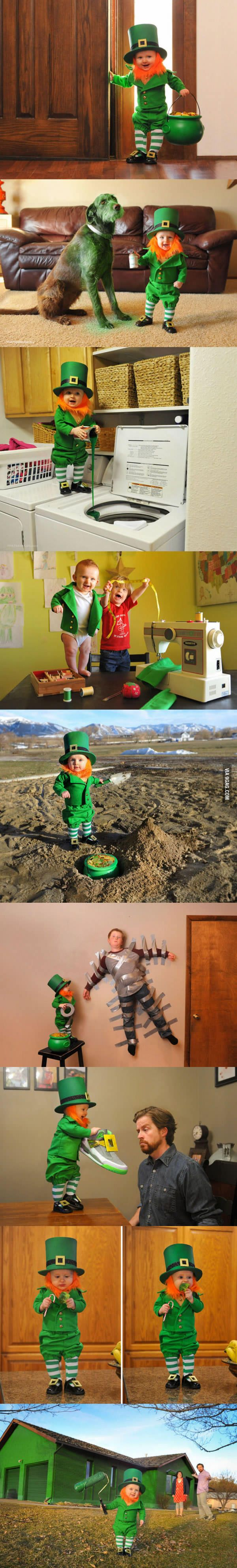 Dad turns his 6-month-old baby into a naughty Leprechaun