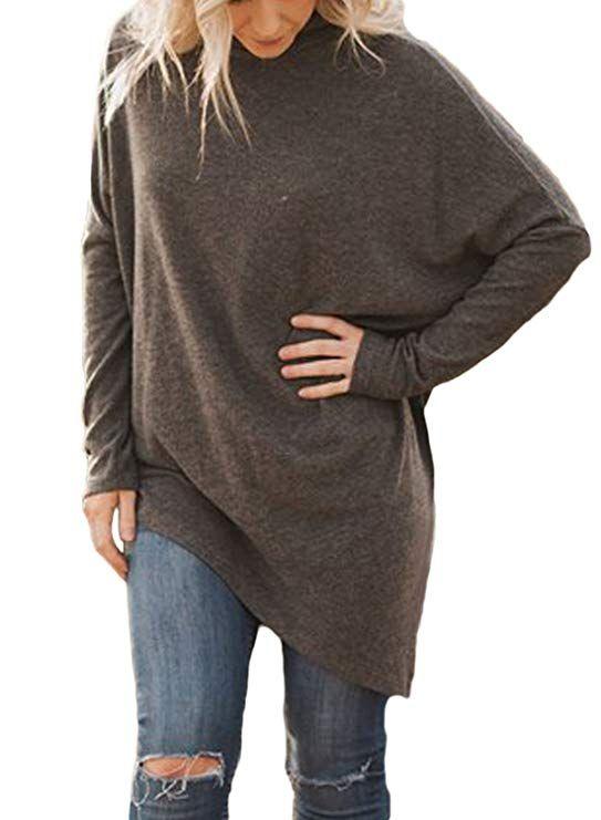 afea573e21 Women s Casual Long Sleeve Loose Fitting Handkerchief Hem Tunic Tops ...