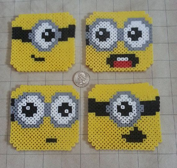 Perler Bead Minions Coasters by WintermoonCrafts