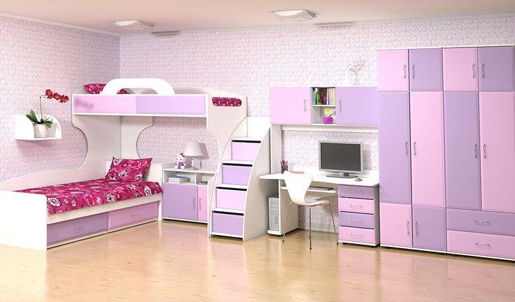 Спальный гарнитур Колорит: кровать-чердак, комод-лестница, рабочий стол и шкафы для ребенка