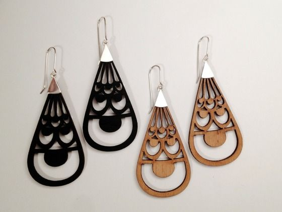 'Champagne and Flowers' Sterling Silver and laser cut wood large drop earrings. AU$60 with free National and International shipping. http://christinalowrydesigns.bigcartel.com/
