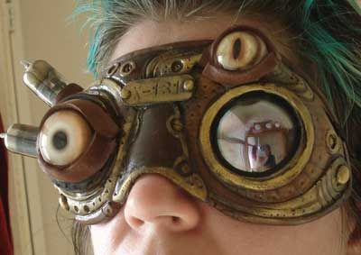 Steampunk Biomech Goggles With Devil Eyes