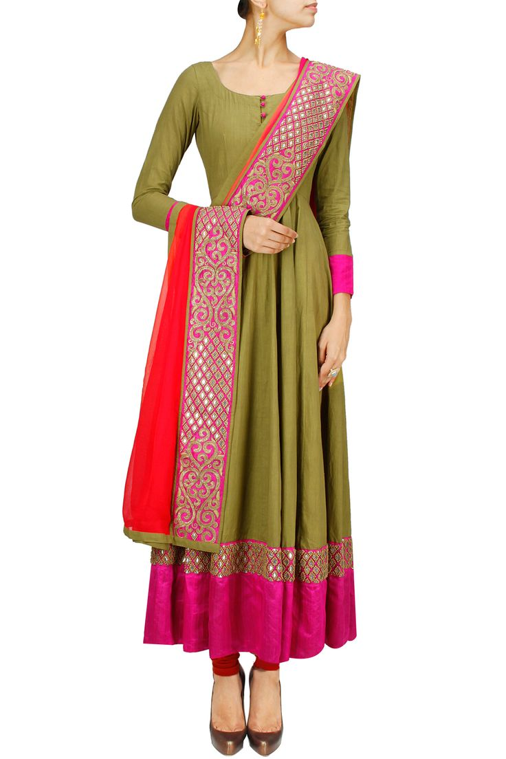 Military green and red gota embroidered anarkali set BY VASAVI SHAH.