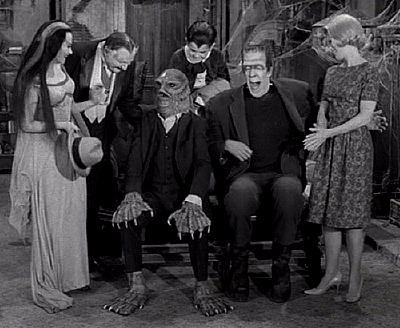 The Munsters with relative Uncle Gilbert