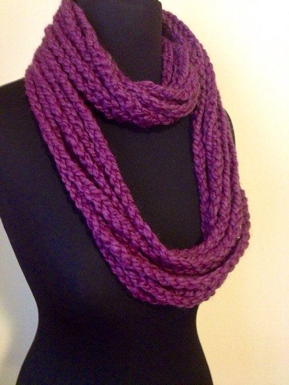 Free US Shipping: Purple Wool Blend Infinity Scarf