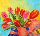 ❧♪ Tulips #Tied Up. Floral Oil Painting on #Board #Contemporary Artist France 2000-Now http://ebay.to/2fD3PYF