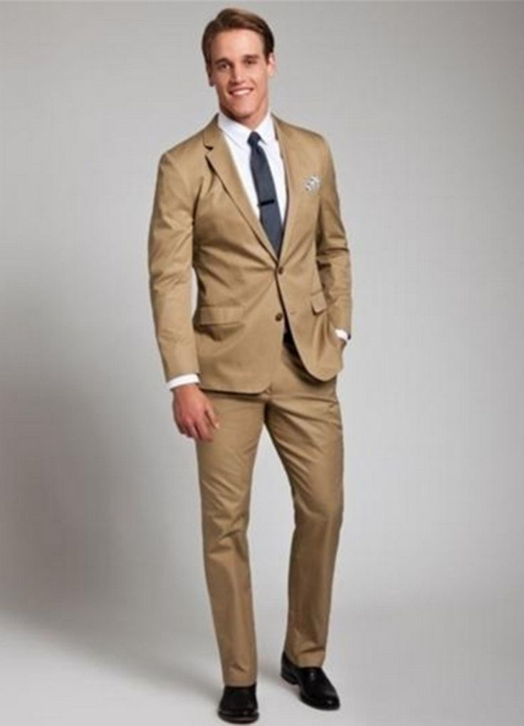 Men's Casual Bridegroom Fashion Khaki Color 2016 Brand Slim Classic Business Party Formal comfortable Suits With Pants