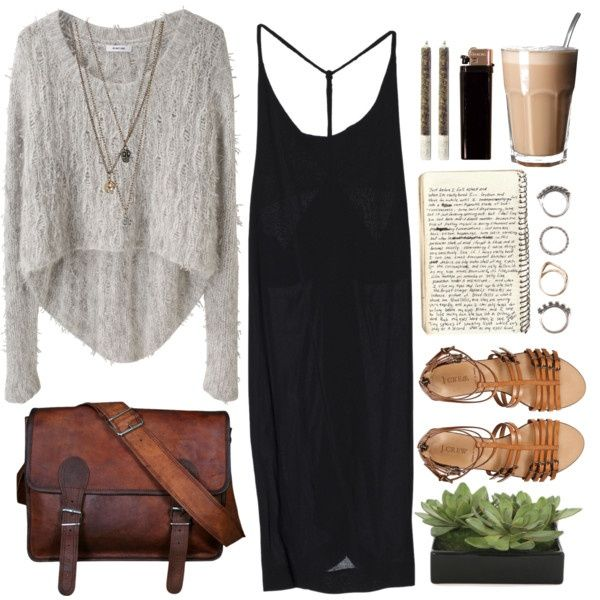 Cafe Date by vv0lf on Polyvore...minus the bag, plants (which is randomly there), and lighter, A good vacation outfit too