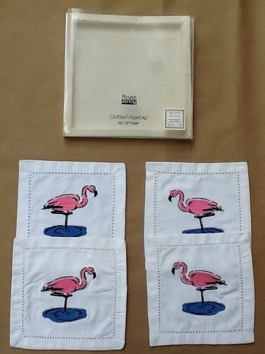 4 ~ NEW Pink Flamingo Embroidered Cloth Cocktail Napkins & 2 Wooden Napkin Rings #InHouse