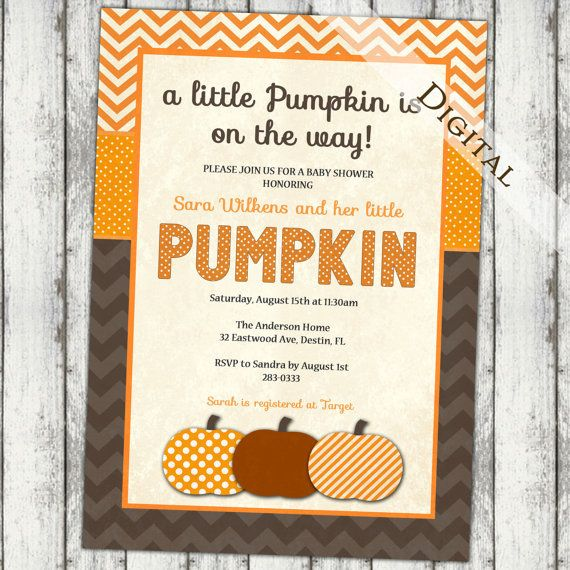 pumpkin baby shower invitation, fall baby shower invitation with chevron and polka dots, thanksgiving baby, digital, printable (item175) on Etsy, $13.00