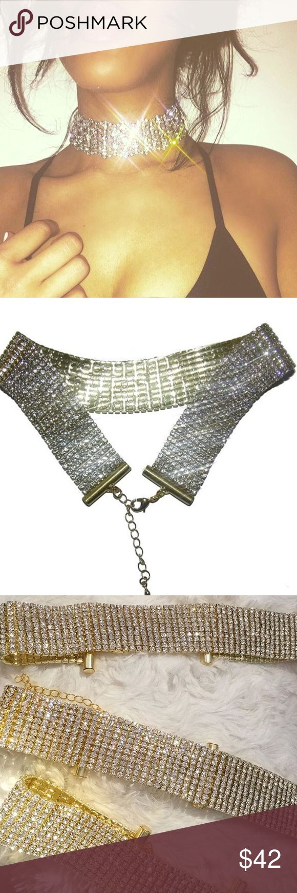 """Glam Rhinestone Choker Ultra glam rhinestone choker can make an outfit  get ready to be blinded by the bling!!! These beauties measures 11 1/2""""- 14 1/2"""". NOT NASTY GAL. LIMITED RUN ON THESE. Nasty Gal Jewelry Necklaces"""