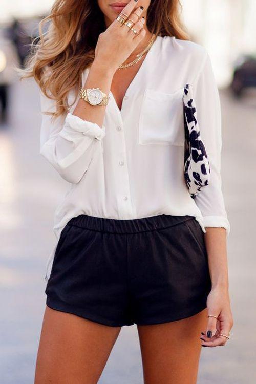 V Neck White Long Sleeve Shirt