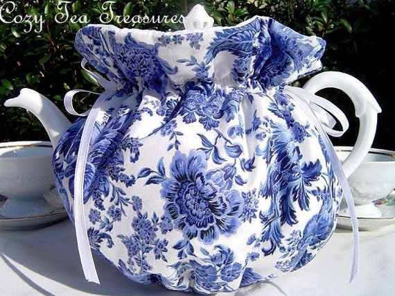 Tea Cozy for 6-8 Cup Teapot BLUE PORCELAIN Reversible, Insulated Tea Pot Tea Cozy Cosy Also Available in 1-2 Cup and 2-4 Cup Sizes