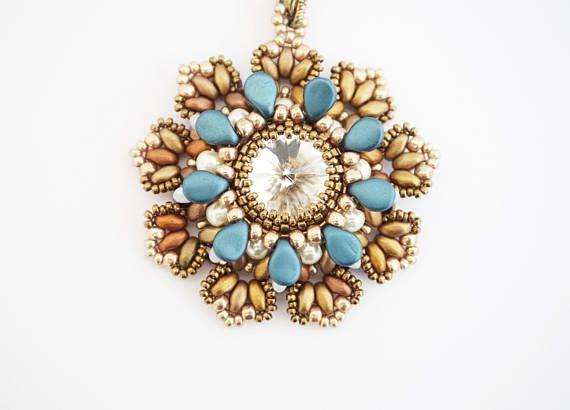 beadwoven pendantround pendantpendant with chainhandmade