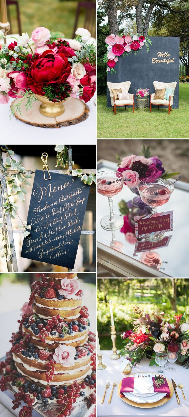 Navy & Raspberry Wedding Colour Palette With Foliage and Gold Accents
