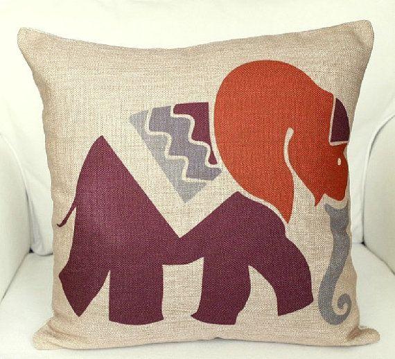 Linen Pillow animal Pillow cover Elephant Cushion cover black pillow cover Home Decor Throw pillow Decorative pillow18