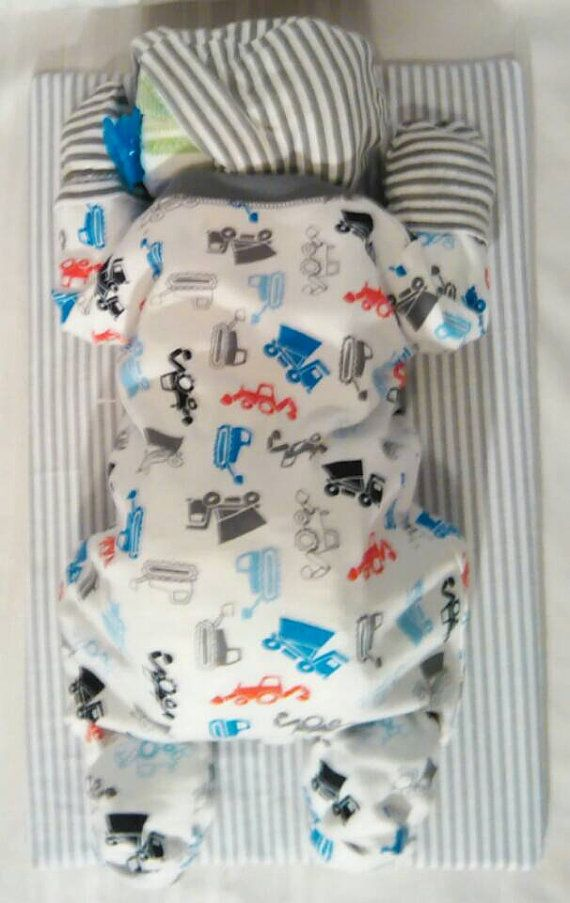 Diaper cake sleeping baby diaper cake boy diaper cake  www.TopsyTurvyDiaperCake.com - washcloth favors, washcloth animals, diaper cakes, and baby shower gifts