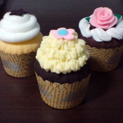 Felt cupcakes pattern set - chocolate cupcake, whipped cream, felt rose fondant (felt patterns via email)