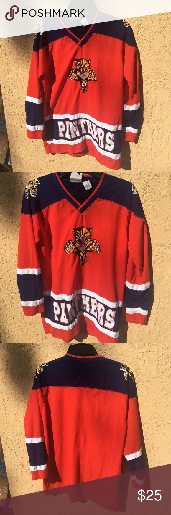 Authentic Florida panthers hockey jersey Size large. Lightly worn. Authentic jersey with stitched emblems and patches.unisex Florida Panthers Shirts Tees - Long Sleeve