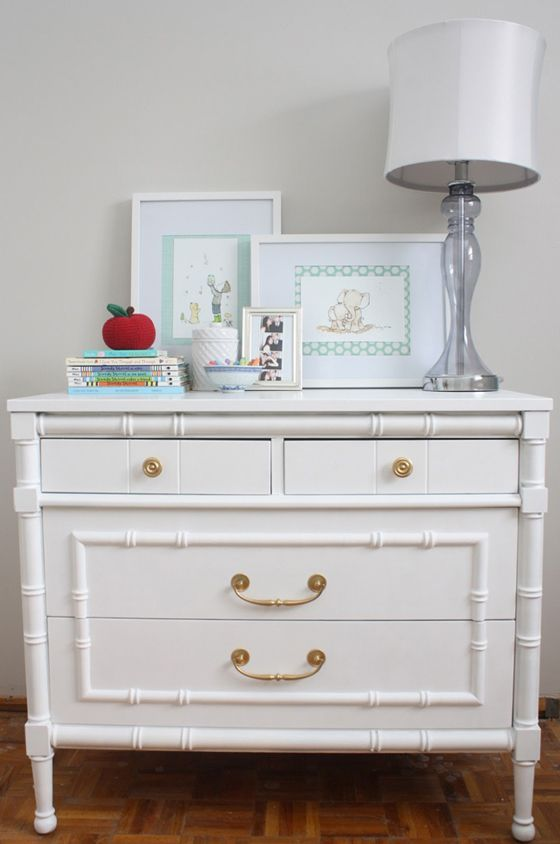 Vintage Dresser w/ Gold Hardware + High-Gloss Paint - perfect touch to the #nursery! #nurserydecorBamboo Dressers, Baby Dressers, Urban Jane, Gold Hardware,  Commode, Faux Bamboo, Bedside Tables, Refinishing Faux, Painting Dressers