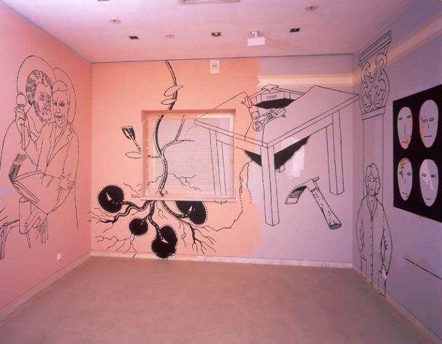 """ONE PINK PIG INSIDE OF ONE WAY VISION SCREEN"" Anna Sigmond Gudmundsdottir"