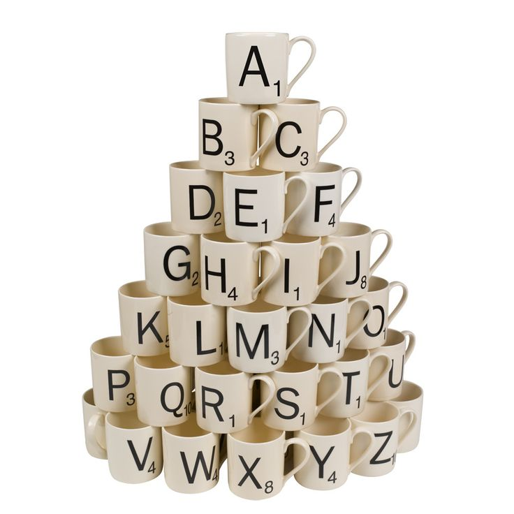 Scrabble Mug Letters A-z design by Wild & Wolfe I found this on www.burkedecor.com