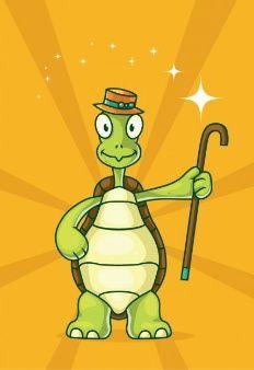 Tartaruga dos desenhos animados com cana