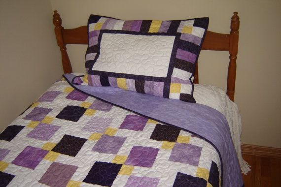 Twin Patchwork Quilted Bedding Custom Twin Quilt by MagpieQuilts, $295.00