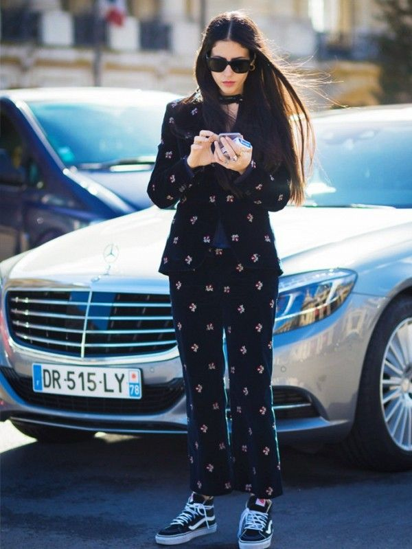 Gilda Ambrosio's velvet patterned suits looks day-appropriate when worn with Vans sneakers.