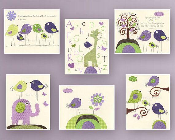 Nursery Art // Violet Nursery Art Decor // Purple by DesignByMaya. , via Etsy.