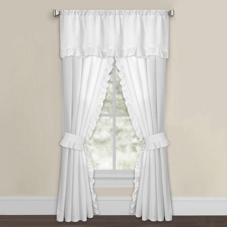 White Microfiber Eyelet Curtain Panel Pair (63 Inch White), Size 42 X 63
