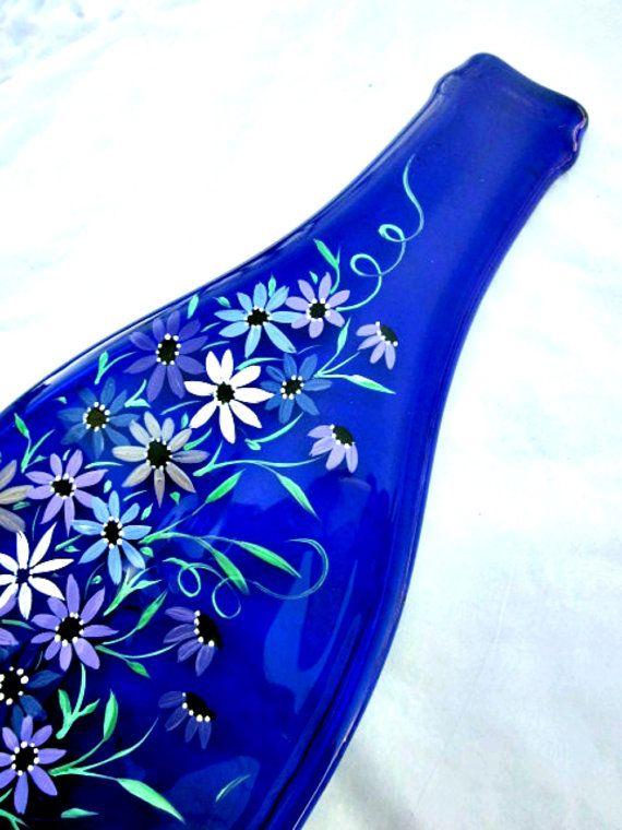 De vidro de garrafas derretido, Bandeja, Garrafa achatado Spoon Rest Trivet, pintado à mão garrafa de vinho azul