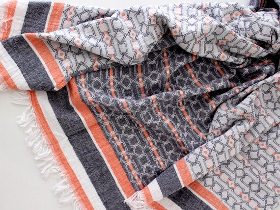 Modern Beach Towels | Contemporary Beach Throw Blanket | Soft Absorbent Geometric Bath Towel Sheets | Organic Cotton Bathroom Textiles Trend