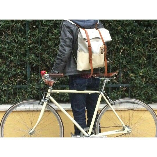 Strolling in Athens! Our custom made James backpack meets its colour mate London made James Kennedy bike! #my3quarters #james #upcycle #reuse #handmade #local #athens #athensdesign #london #instafashion #instagreece #athensvoice #psurri @jameskennedycb